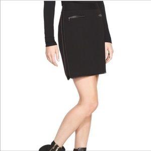 WHBM Ponte Leather Trim Skirt Size 2